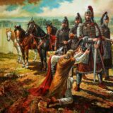 Khan Asparuj cruza el Danubio. Autor Alexander Hofat