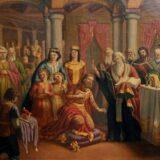 El rey Boris recibe los discípulos de Cirilo y Metodio. Autor Dimitar Gudzhenov